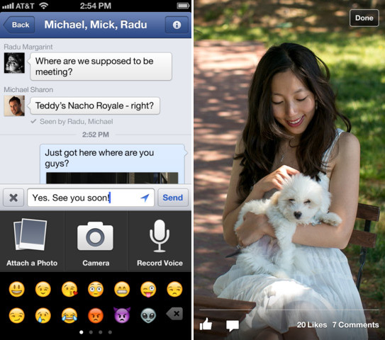 Facebook update voice messages video recording Greek iPhone