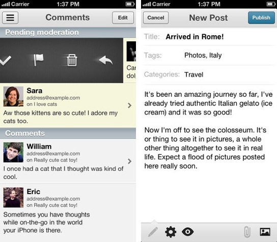 Wordpress for iphone updated with push notifications greekiphone