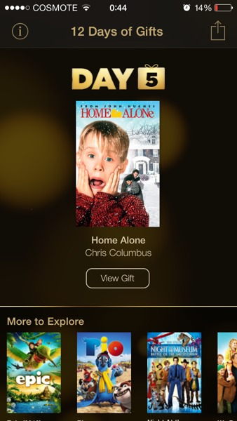 itunes 12 days of gifts day 5 home alone free movie